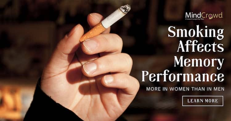 Smoking is associated with worsened verbal learning and memory performance more in women than in men. Source: MindCrowd research study, 2021.